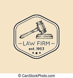 会社, badge., illustration., オフィス, 型, 提唱者, ベクトル, ラベル, 小槌, ロゴ, 司法上, 弁護士, 法律