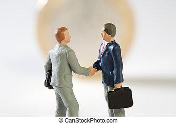 会計である, モデル, 上, proposals., 合意, 2, ミニチュア, conceptual., コイン, ビジネスマン, 手, eu, 新しい, 振動, ユーロ