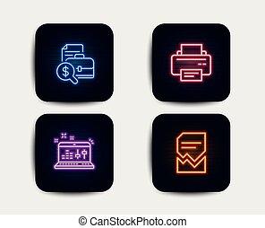 会計, レポート, 音, 点検, そして, プリンター, icons., 堕落させられた, ファイル, 印。, ベクトル