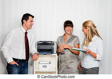 会話, の中, 従業員, 中に, オフィス