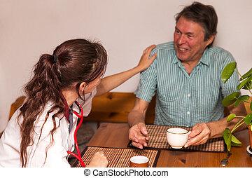 会話, シニア, 持つこと, 看護婦