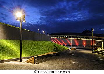 会議センター, evening., 現代, katowice, 建築, インターナショナル