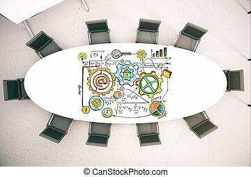 会議テーブル, スケッチ, ビジネス