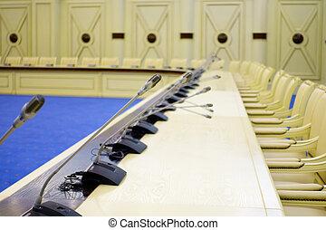 会議テーブル, マイクロフォン, ホール
