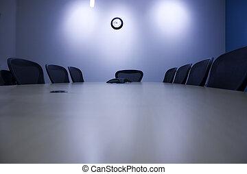会議テーブル, -, 部屋, 光景