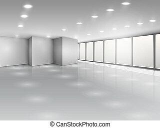 会議室, オフィススペース, ライト, 内部, 開いた, ∥あるいは∥
