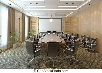 会議室, オフィス, 現代, イラスト, 3d