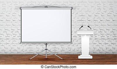 会議室, 内部, 現代, ベクトル, 講義