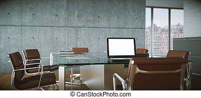 会議室, 現代, レンダリング, 内部, 3d, design.