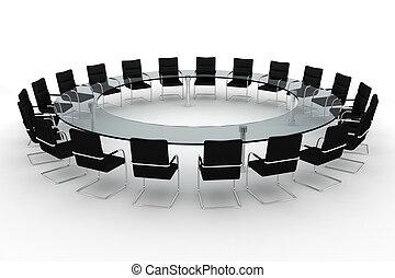 会議室, 隔離された, 白, ラウンド, 3d