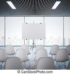 会議室, screen., レンダリング, ブランク, 3d