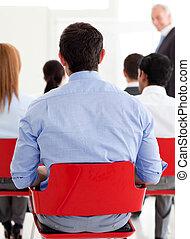 会議, の後ろ, ビジネスマン