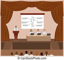 会議, アセンプリ, スポークスマン, 医学, 医者, の後ろ, him., 演壇, セッション, 聞くこと, interior., ホール
