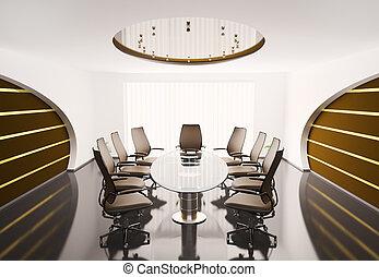 会議, オバール, 3d, 部屋, テーブル