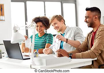 会議, オフィス, 創造的, ビデオ, チーム, 持つこと
