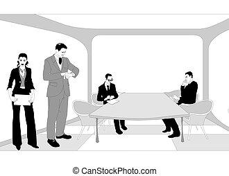 会議, グループ, ビジネス