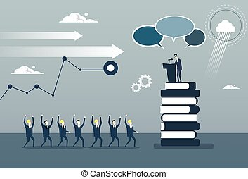 会議, グループ, ビジネス, 先導, businesspeople, frint, 朗らかである, スピーチ,...