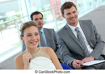 会議, グループ, 部屋, ビジネス 人々