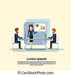 会議, グループ, 金融, ビジネス 人々, グラフ, チャート, ミーティング, プレゼンテーション