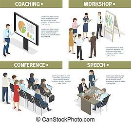 会議, コーチ, セット, スピーチ, ワークショップ