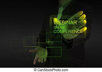 会議, ショー, webinar, 手, オンラインで, ビジネスマン