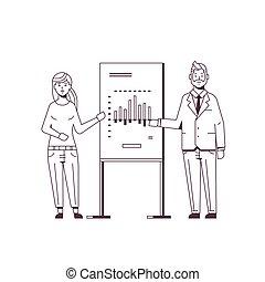 会議, スケッチ, 概念, 財政, ビジネス, フルである, businesspeople, グラフ, 恋人, フリップ 図表, 長さ, スタイル, 提出すること, 協力者, meting, 作成, 線, プレゼンテーション, セミナー, スピーカー