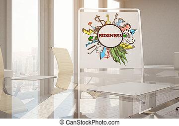 会議, スケッチ, 部屋, ビジネス