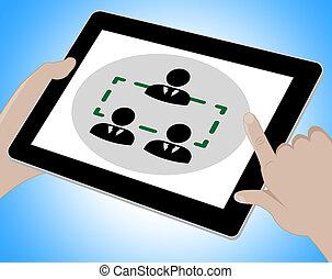会議, タブレット, イラスト, ∥示す∥, オンラインで, セミナー, 3d