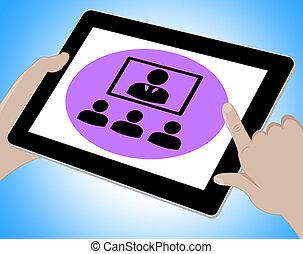 会議, タブレット, フォーラム, オンラインで, イラスト, インターネット, ショー, 3d