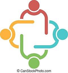 会議, チームワーク, 人々。, グループ, 4