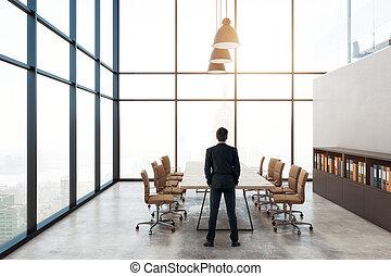 会議, ビジネスマン, 部屋, 現代