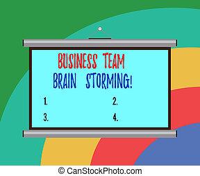会議, ビジネス, グループ, ポータブル, 仕事, チーム, 壁, 写真, スクリーン, 仕事, 執筆, storming., 脳, presentation., 企業である, テキスト, 概念, 手, ミーティング, 提示, 予測