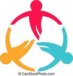 会議, ビジネス 人々, 企業家, 3, circle.