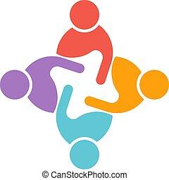 会議, ビジネス 人々, 企業家, 4, circle.
