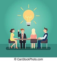 会議, ビジネス, 大きい, desk., ミーティング, 人