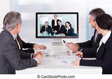 会議, ビデオ, グループ, businesspeople