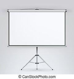 会議, プロジェクター, ミーティング, スクリーン, 三脚, tripod., boad, vector., ミーティング, 白, プレゼンテーション, 空, 板