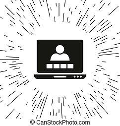 会議, ベクトル, ビデオ, アイコン