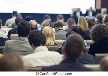 会議, ホール, ビジネス, 人々