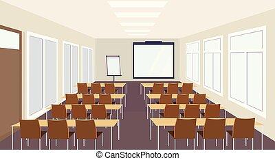 会議 ホール, 容量, 人々, 椅子, プレゼンテーション, スクリーン, 現代, 机, 大きい, 空, 教室, いいえ, ブランク, 内部, 講義, モデル, ミーティング, 横, セミナー