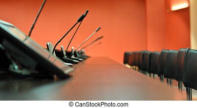 会議, マイクロフォン, クローズアップ, オフィス椅子, テーブル