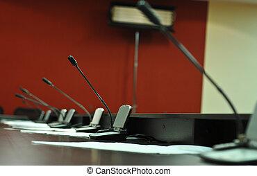 会議, マイクロフォン, クローズアップ, テーブル
