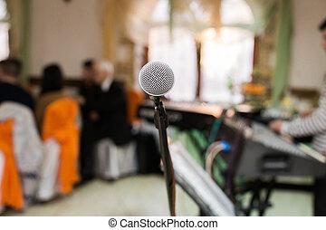 会議, マイクロフォン, コンサートホール, ∥あるいは∥, ステージ