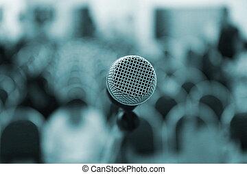 会議, マイクロフォン, ステージ, ホール