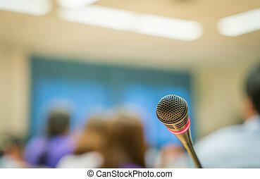会議, マイクロフォン, 黒, 部屋