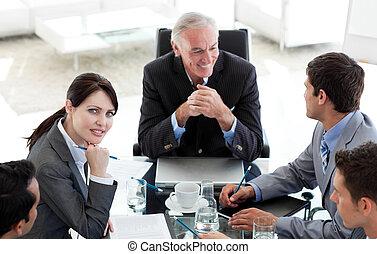 会議, 人々ビジネス, 多民族, テーブル, のまわり, モデル