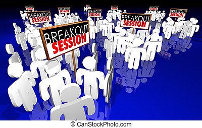 会議, 人々, セッション, breakout, サイン, ミーティング, アニメーション, 3d