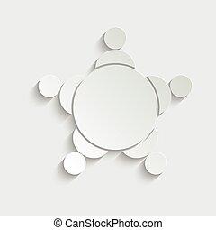 会議, 人々, テーブル, アイコン, ペーパー, ラウンド, icon.