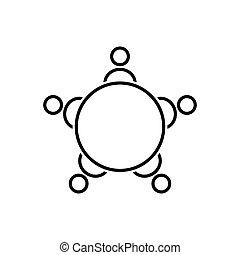 会議, 人々, テーブル, アイコン, icon., ラウンド