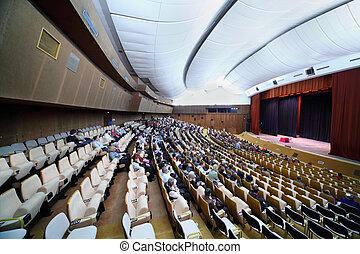 会議, 人々, 椅子, 大きい, モデル, 容易である, 多数, ホール